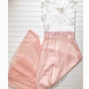 Dresses & Skirts - 🎀 Pink White Lace Sleeveless Long Prom Maxi Dress